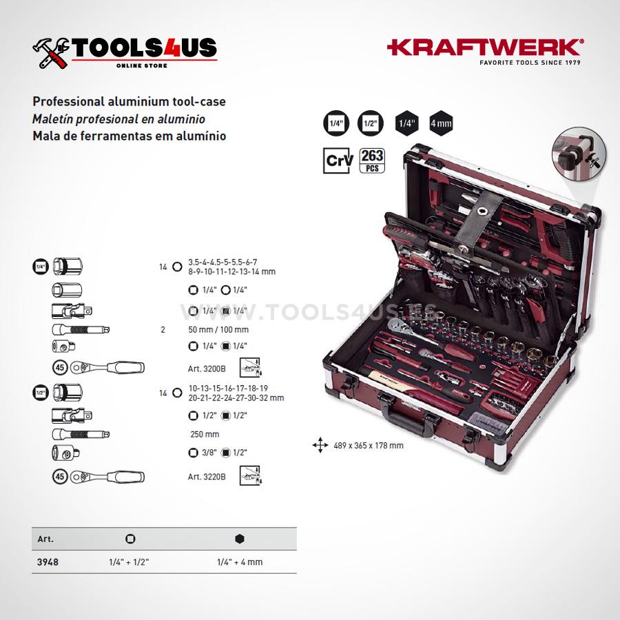 3948 Kraftwerk Maleta Herramientas Profesional Aluminio 263 piezas _03