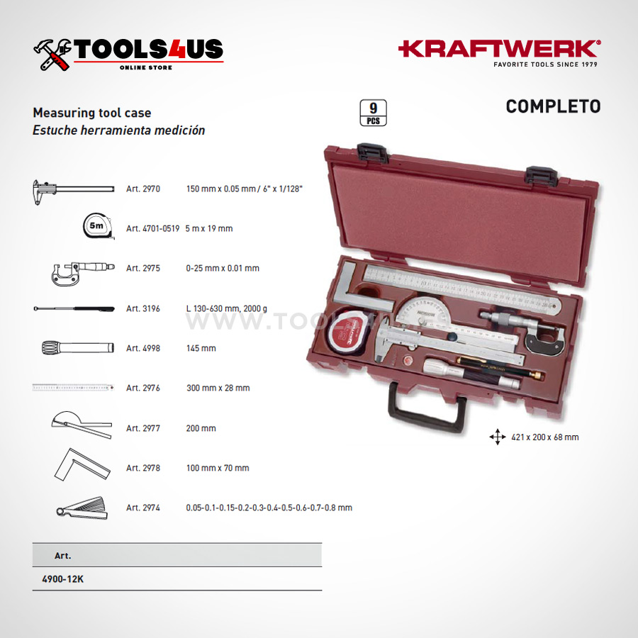 3966 kraftwerk tools estuche caja maletin herramientas medicion profesional taller _01