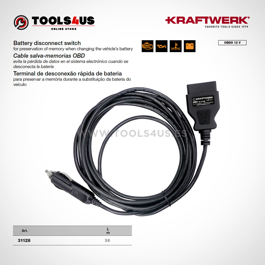 31128 KRAFTWERK herramientas taller barcelona espana cable salva memorias OBD 01 - Cable salva-memorias OBD