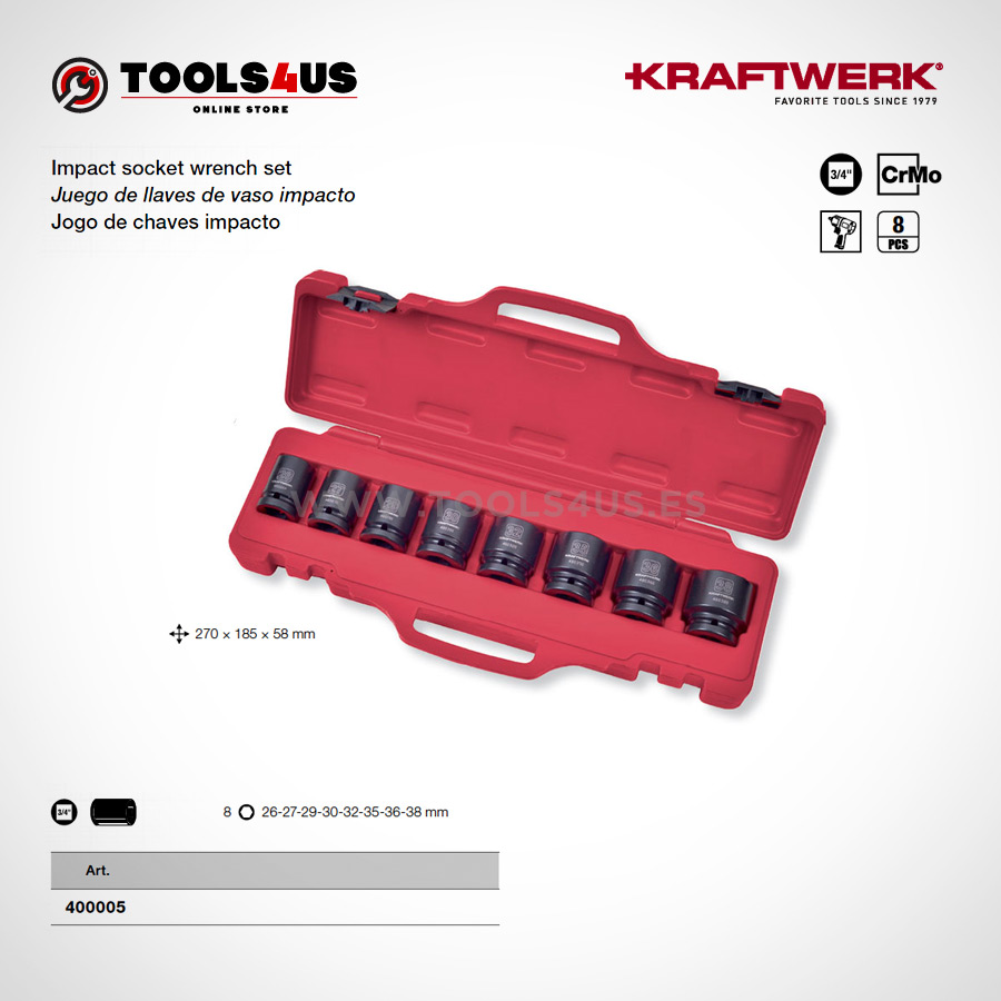 """400005 KRAFTWERK herramientas taller barcelona Juego llaves vaso impacto 3 4 Cortos - Juego de llaves de vaso impacto  3/4"""" Cortos (8 piezas)"""